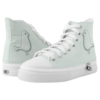 Mint Grey Bird Shoes Printed Shoes