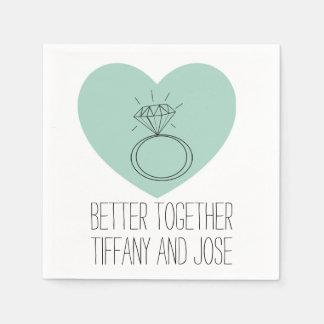 "Mint Heart ""Better Together"" Engagement Napkin Disposable Serviette"