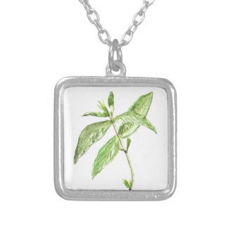 Mint herb silver plated necklace