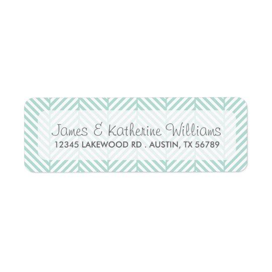 Mint Herringbone Chevron Modern Wedding Return Address Label