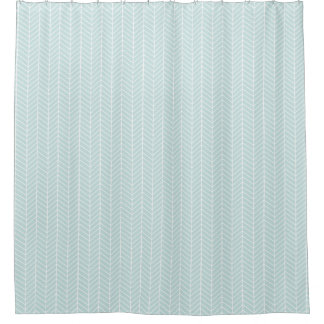 Mint Herringbone shower curtain