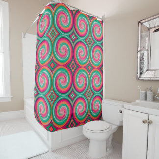 Mint Hot Pink Abstract Swirl Pattern Shower Curtain