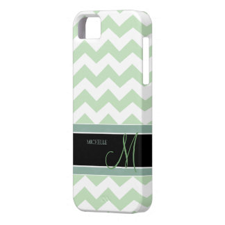Mint Ice Cream Green Zig Zag Pattern with monogram iPhone 5 Covers