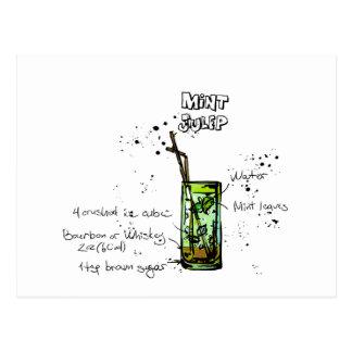 Mint Julep Cocktail Recipe Postcard