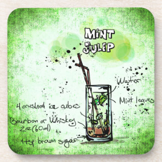 Mint Julep Drink Recipe Coaster