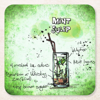 Mint Julep Drink Recipe Square Paper Coaster