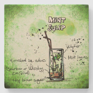 Mint Julep Drink Recipe Stone Coaster