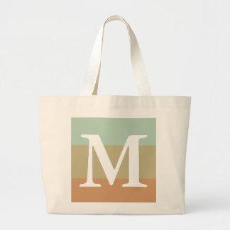 Mint Khaki Striped Colour Palette  Monogram Large Tote Bag