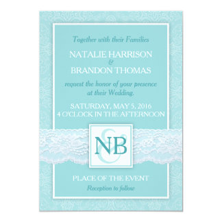 Mint lace wedding invitations with RSVP