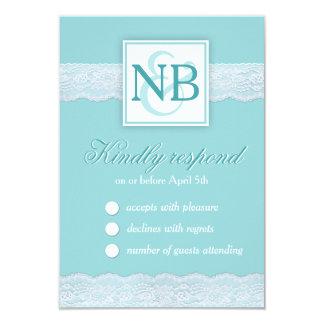 Mint lace wedding RSVP cards Monograms