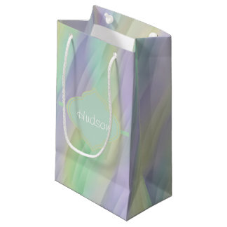 Mint Lavender Yellow Monogram Small Gift Bag