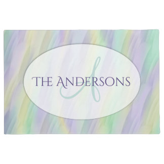 Mint Lilac Yellow Abstract Doormat