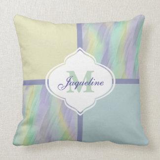 Mint Lilac Yellow Monogram Colorblock Cushion