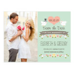 MINT LOVE BIRDS DOVE SAVE THE DATE