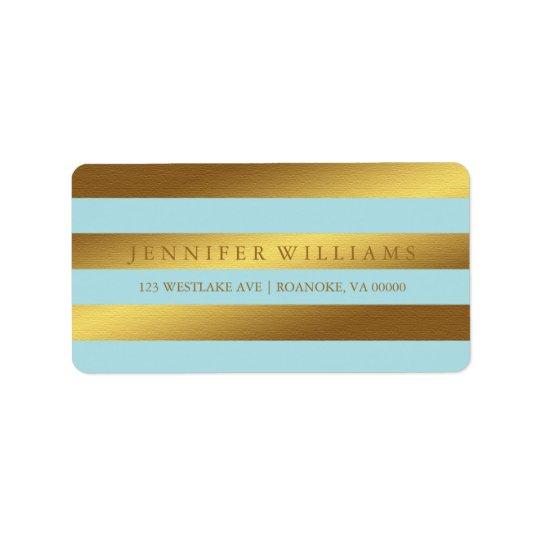 Mint Modern Faux Gold Foil Stripes Address Label