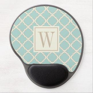 Mint Modern Moroccan Quatrefoil Monogram Gel Mouse Pad