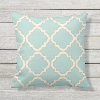 Mint Modern Moroccan Quatrefoil Throw Pillow