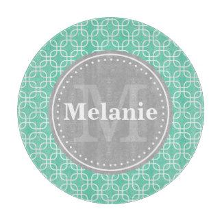 Mint Modern Squares Pattern Grey Monogram Cutting Board