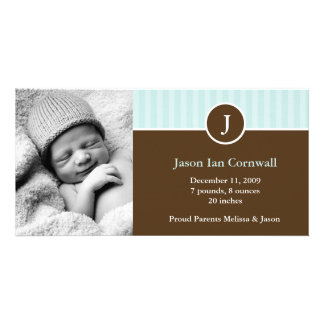 Mint Monogram and Stripes Birth Announcements Customised Photo Card