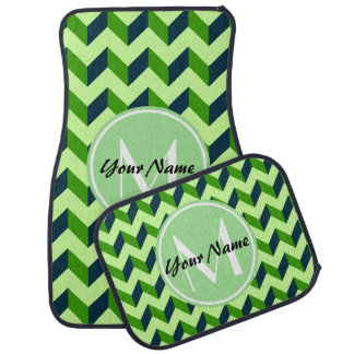 Mint Monogram Green Chevron Patchwork Pattern Car Mat