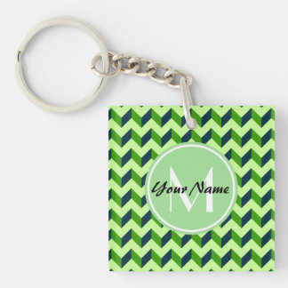 Mint Monogram Green Chevron Patchwork Pattern Double-Sided Square Acrylic Keychain