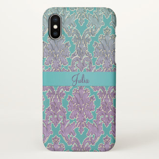 Mint n Mauve Damask Personalised iPhone X Case