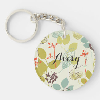 Mint n Olive Nature Patterned Name Keychain