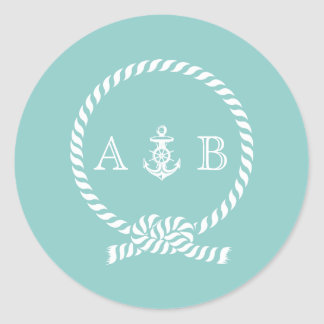 Mint Nautical Rope and Anchor Monogram Classic Round Sticker