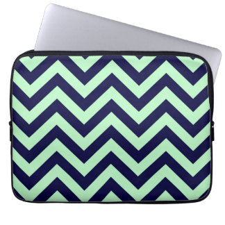 Mint, Navy Blue Large Chevron ZigZag Pattern Laptop Sleeve