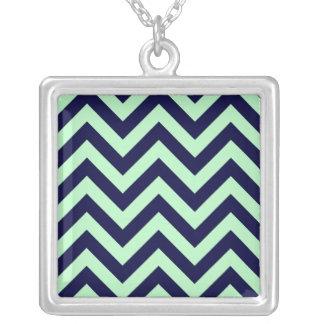 Mint Navy Blue Large Chevron ZigZag Pattern Pendant