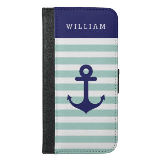 Mint Navy Strips - Classy Nautical Anchor Monogram
