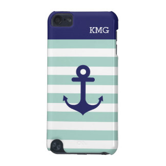 Mint Navy Strips Pattern Nautical Anchor Monogram iPod Touch 5G Case