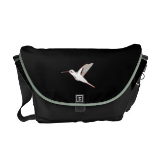 Mint, network, black exotic flying hummingbird commuter bag