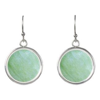 Mint or jade green garden squash photo earrings