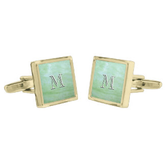 Mint or jade green garden squash photo gold finish cufflinks