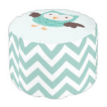 Mint Owl and Chevrons Pattern