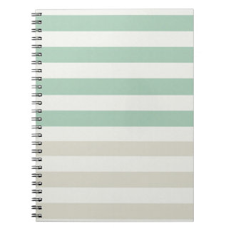 Mint, Pale and White Stripes Notebook