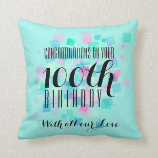 Mint Pastel Colors 100th Birthday Custom Pillow