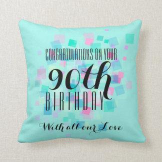 Mint Pastel Colors 90th Birthday Custom Pillow 3