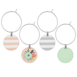 Mint peach and grey wine charm set