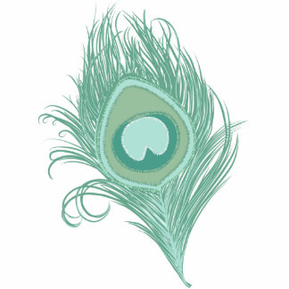 Mint Peacock Feather Photo Sculpture Decoration
