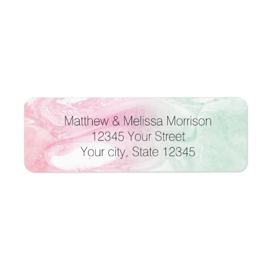 Mint Pink Abstract Personalised Address Labels