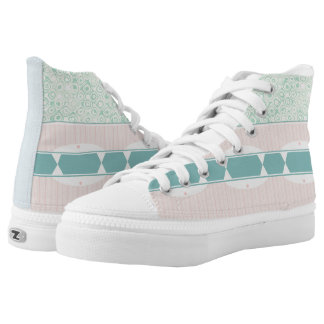 Mint Pink Blue Pastel Unisex High Top Sneakers