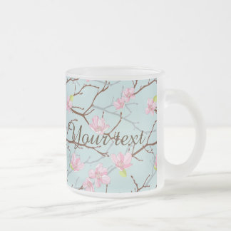 mint,pink,cherry blossom, girly,trendy,beautiful, frosted glass mug