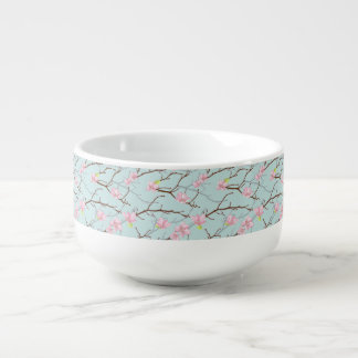 mint,pink,cherry blossom, girly,trendy,beautiful, soup bowl with handle