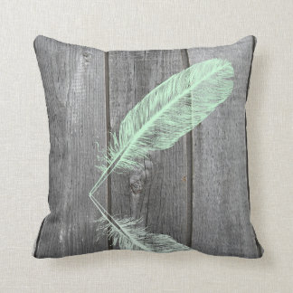 Mint & Pink Feather Throw Pillow