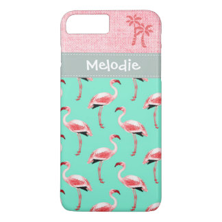 Mint Pink Flamingo Tropical Hot Summer Island iPhone 8 Plus/7 Plus Case
