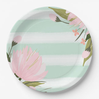 Mint Pink Gold Floral Baby Shower Paper Plates