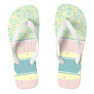 Mint Pink Pastel Swirls and Stripes Fip Flops Thongs