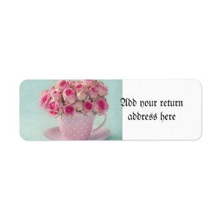 mint,pink roses,shabby chic,elegant,hipster,modern return address label